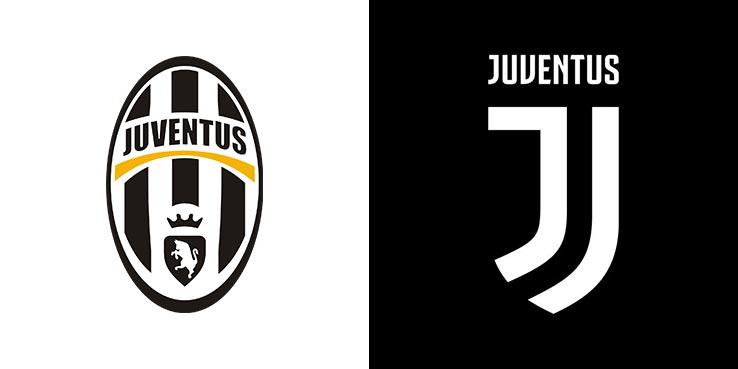 Старый и новый логотип Ювентуса