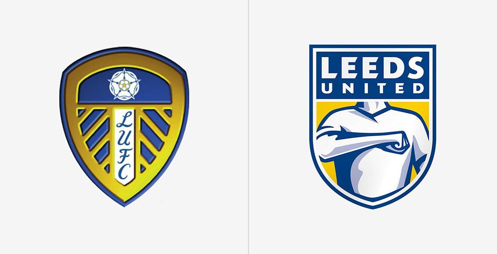 Старый и новый логотип Лидса